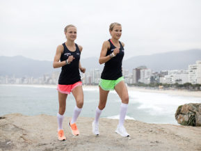 Women athletes with White Compresssion Socks