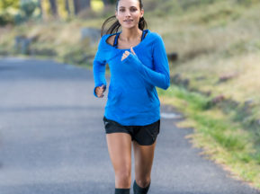 Women running with compression socks